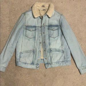 Topshop sherpa lined light wash jean jacket